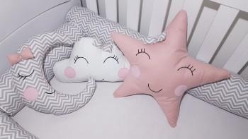 Almofada decorativa Nuvem, Estrela e Lua (3 peças)