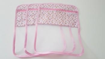 Conjunto de saquinhos organizadores para bolsa (3 peças) - Nuvem Rosa